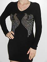 Вечернее черное платье со стразами короткое с длинным рукавом трикотаж Bella Nissa 9115 Турция рр. 46-48