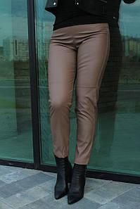 Брюки женские кожаные стильные осенние с высокой посадкой укороченные №952 цвет коричневый