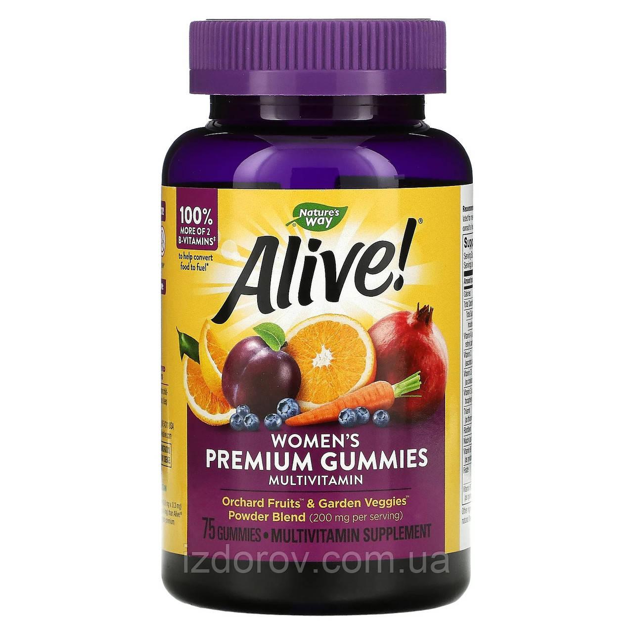 Nature's Way, Alive! Мультивитамины для женщин, 75 жевательных таблеток