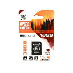 Карта пам'яті Mibrand 16 ГБ microSDHC Class 10 UHS-I + SD Adapter MICDHU1/16GB-A