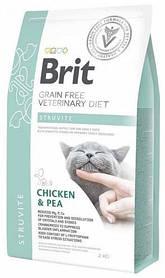 Лечебный корм для кошек Brit Veterinary Diets Cat Struvite при лечении и профилактике мочекаменной болезни 2кг