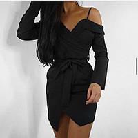 Изысканное женское платье на запах приталенное красный и черный