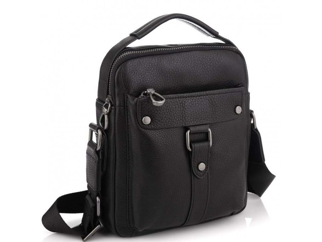 Чоловіча шкіряна сумка месенджер Allan чорного кольору.Шкіряна сумка через плече в чорному кольорі.