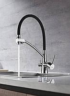Змішувач для кухні з підключенням фільтрованої води SANTEP 8877-1, латунь, c силіконовим виливом