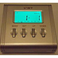 Будильник настольный vst-7069s, часы, таймер, термометр, календарь, 5 цветов подсветки дисплея, 3*ааа