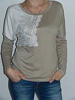Блузка с кружевом женская трикотажная Possession 9705 Турция (четыре цвета) рр. 46, 48, 50