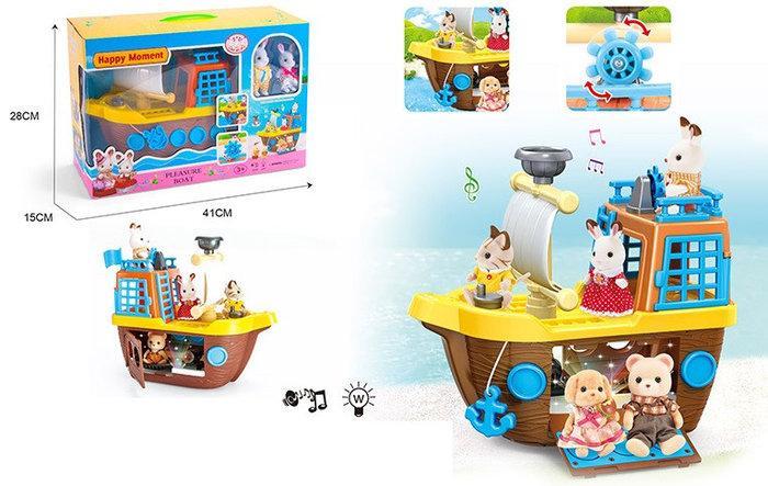 Тварини флоксовые Happy Family MBE18-2 (Корабель, світло,звук, 2 фігурки, в коробці 41*28*15см)