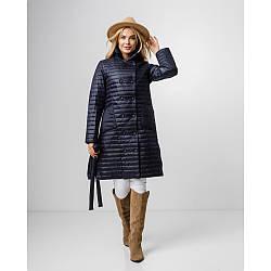 Жіноча актуальна подовжена куртка темно-синя