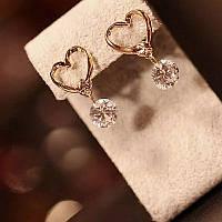 Ніжні маленькі сережки Серця зі стразами