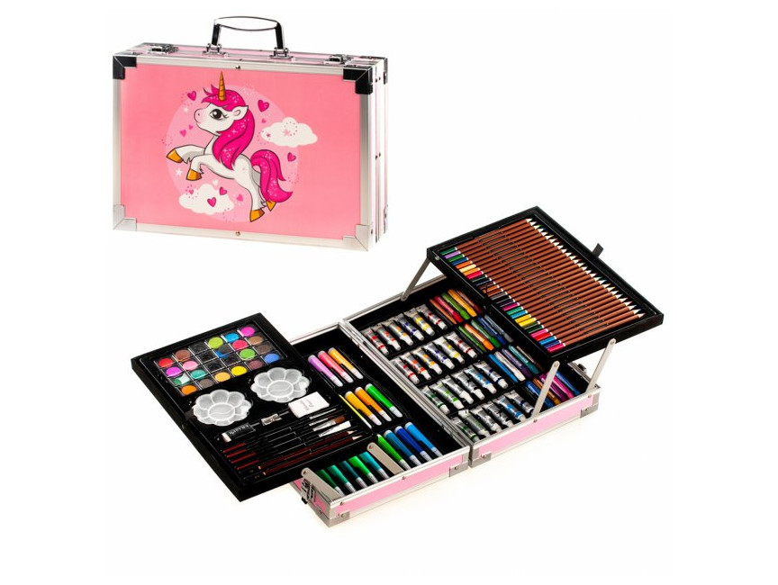 Набор для рисования и творчества в алюминиевом сундучке Super Mega Art Set 144 предмета Розовый