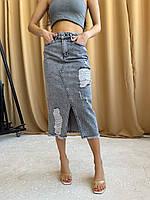 Джинсовая рваная миди юбка Турция, фото 1