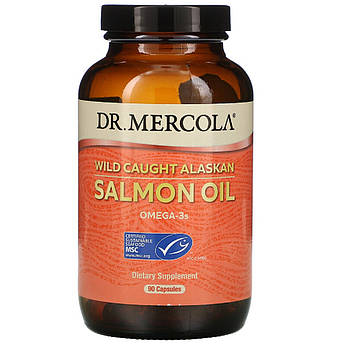Жир дикого аляскинского лосося, Wild Caught Alaskan Salmon Oil, Dr. Mercola, 90 капсул