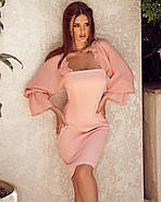 Романтичне жіноче плаття в обтяжку, з об'ємним рукавом на резинці, фото 2