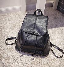 Жіночий шкіряний рюкзак чорний ПУ шкіра
