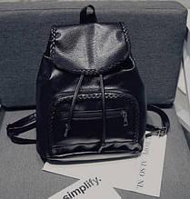 Женский кожаный рюкзак черный ПУ кожа