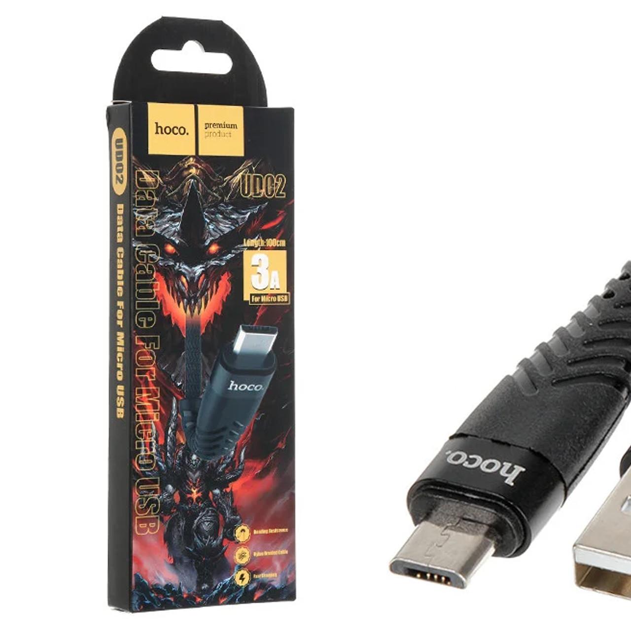 Кабель USB /Micro USB HOCO UD02 Grandiose 2.4 A/1m Black