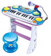 Lb Детский музыкальный инструмент Детское пианино со стульчиком 7235BLUE микрофон в комплекте игрушка