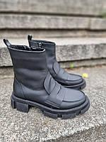 Удобные ботинки из натуральной мат кожи. Деми/байка или зима/мех на выбор Код кА-38 цвет черный, фото 1