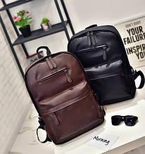 Стильный городской мужской рюкзак черный, коричневый эко кожа+ кардхолдер в подарок