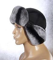Мужская меховая шапка Ушанка из рекса и плащевки