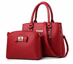 Набор женская сумка + мини сумочка клатч. Комплект 2 в 1 большая и маленькая сумка на плечо. Красный