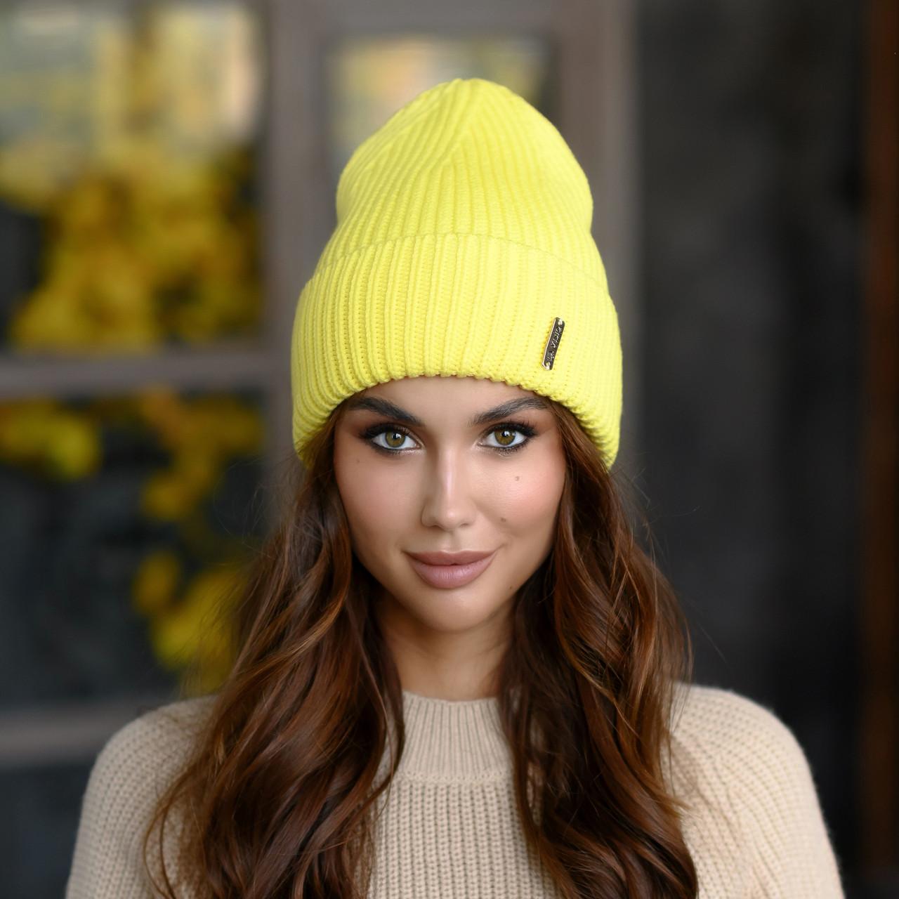 """Вязанная шапка """"Мишель"""" цвет - желтый"""