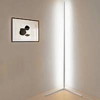 Угловая Led лампа торшер c RGB, светодиодный светильник напольный 140 см, белый White