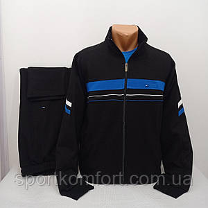 Турецкий качественный демисезонный спортивный костюм Linke тёмно-синий хлопок 77 брюки прямые