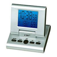 Оригинальные говорящие часы для дома и офиса vst-7059c, настольные, будильник, термометр, 2хааа
