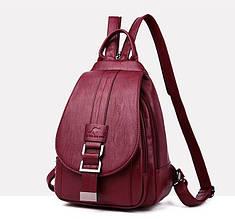 Модный женский рюкзак бананка Бордовый