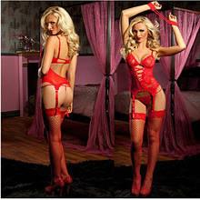 Червоний еротичний сексуальний комплект (корсет, стринги, панчохи і наручники)