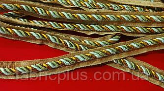 Шнур - кант мебельный встрочной 5 мм хаки/золото люрекс