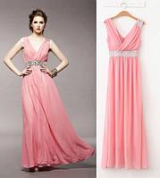 Вечернее платье. Очень нежное платье из шифона, украшенное камнями под грудью и на одном плече.