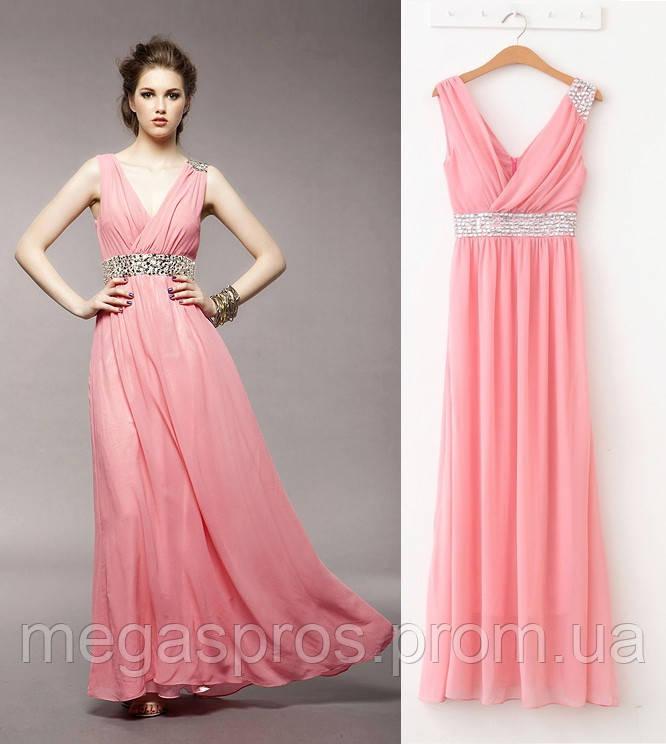 91888e15ebc02d8 Вечернее платье. Очень нежное платье из шифона, украшенное камнями под  грудью и на одном