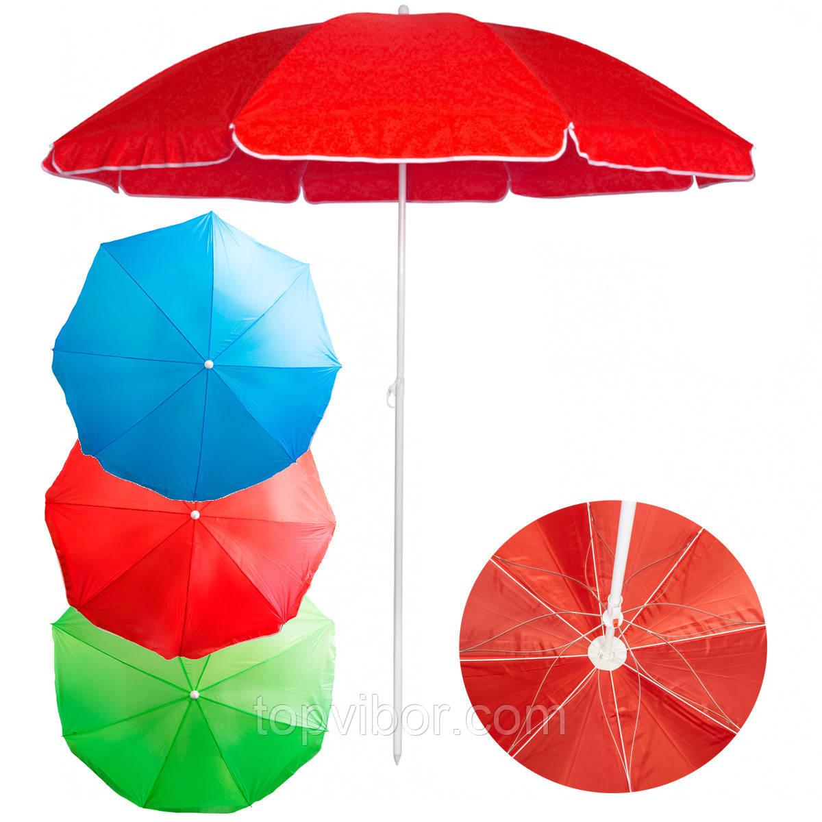 "Сонцезахисна парасолька ""Stenson - Червона"" 2,1 м, великий зонт пляжний посилений (система ромашка)"