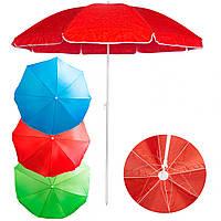 "Сонцезахисна парасолька ""Stenson - Червона"" 2,1 м, великий зонт пляжний посилений (система ромашка), фото 1"