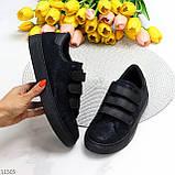 Кроссовки/ кеды женские черные эко замша на липучке весна/ осень, фото 8