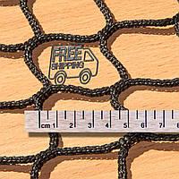 Заградительная оградительная сетка безузловая испанская, D – 3 мм, ячейка –4,5 см, чёрная для теннисных кортов