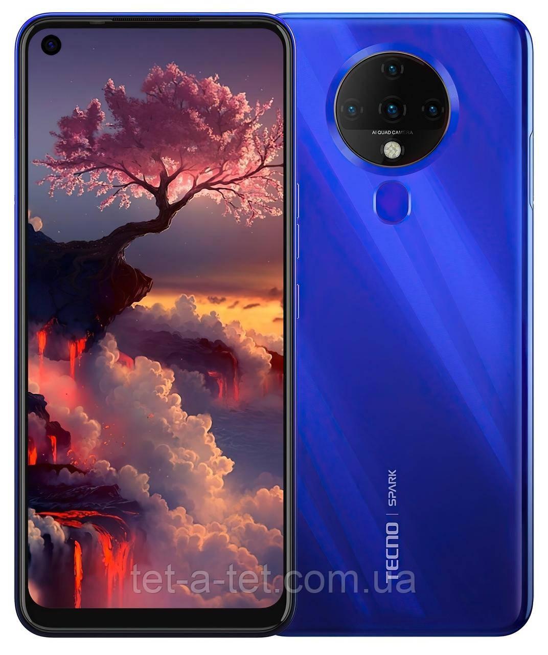 Смартфон TECNO Spark 6 (KE7) 4/64GB Ocean - Синій (Blue). ОФІЦІЙНА ГАРАНТІЯ 13 МІСЯЦІВ !!!
