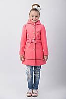 """Демисезонное пальто для девочки с поясом и капюшоном """"Бант"""""""