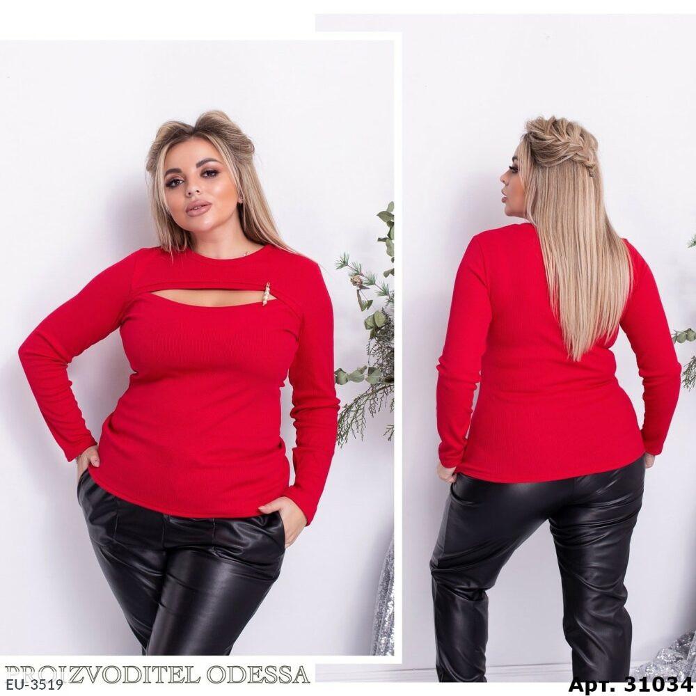 Блуза жіноча Кофточка облягає в рубчик з вирізом декольте великих розмірів батал 48-58 арт.742