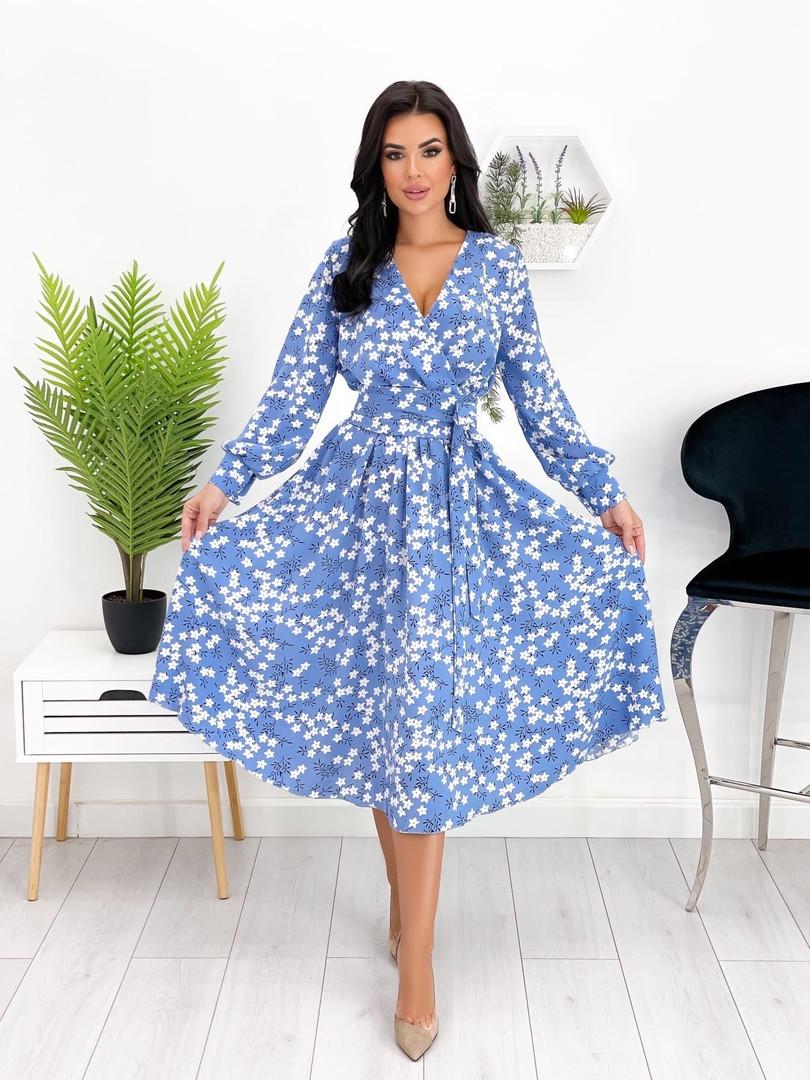 Сукня міді з гумкою на талії з квітковим принтом