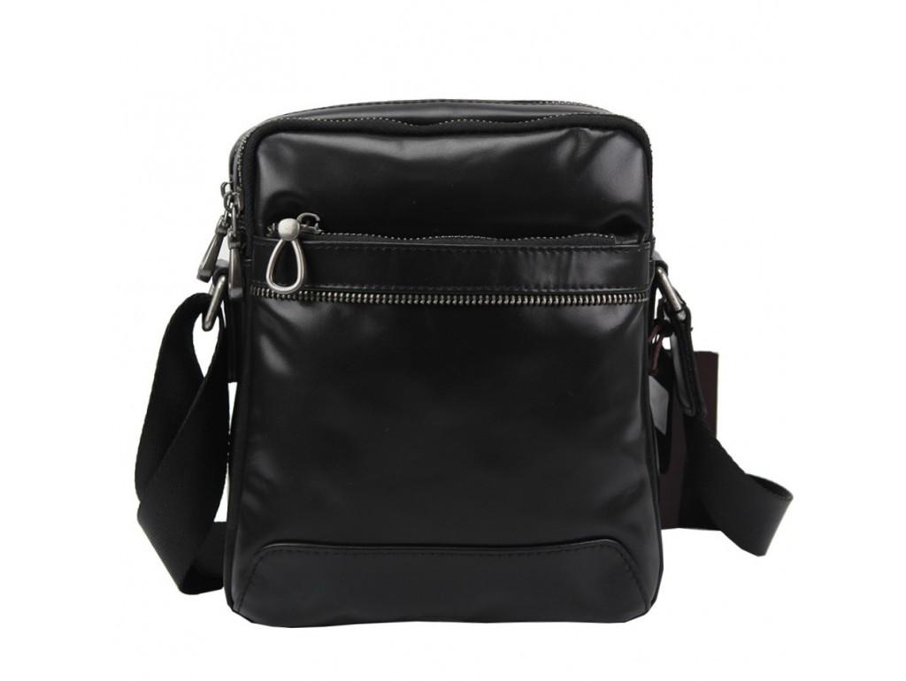 Мужская кожаная сумка мессенджер Tiding Bag черного цвета.Мужская кожаная сумка через плечо.