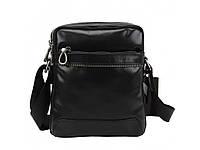 Мужская кожаная сумка мессенджер Tiding Bag черного цвета.Мужская кожаная сумка через плечо., фото 1