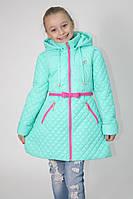 """Стильная удлиненная куртка-плащ для девочки """"Зефир"""" 128, мята"""