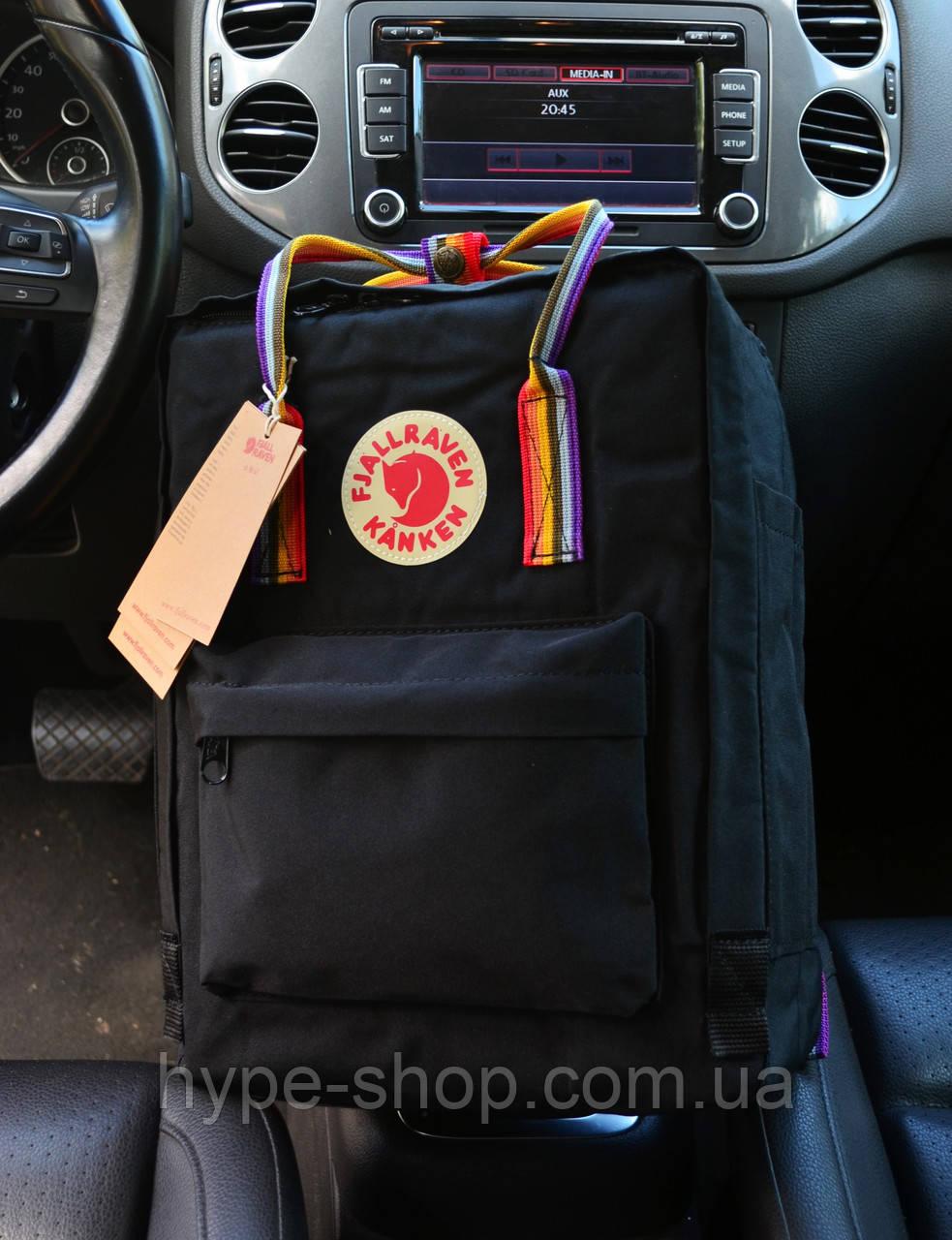 Рюкзак Kanken Classic Black rainbow 16 літрів портфель канкен класік чорний
