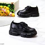 Жіночі туфлі чорні на шнурковке еко шкіра, фото 3