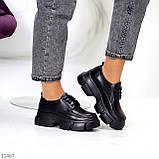 Жіночі туфлі чорні на шнурковке еко шкіра, фото 4