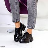 Жіночі туфлі чорні на шнурковке еко шкіра, фото 6