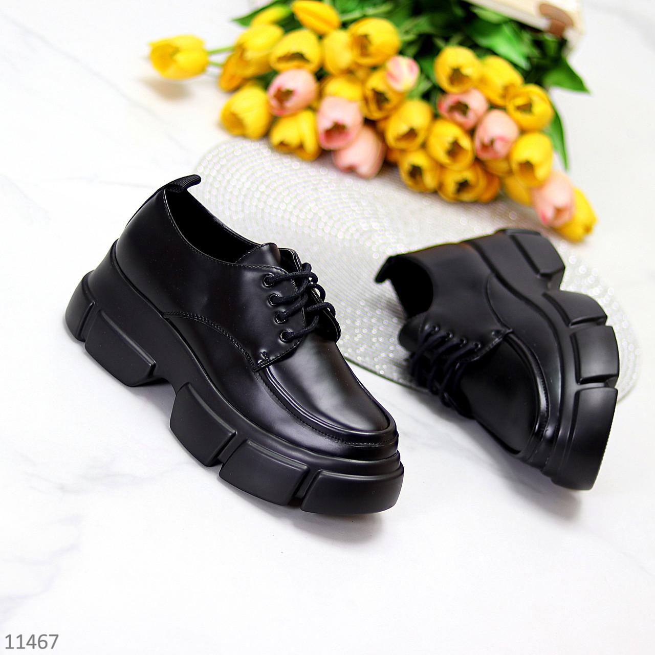 Жіночі туфлі чорні на шнурковке еко шкіра